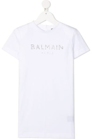 Balmain Embellished logo-print T-shirt dress