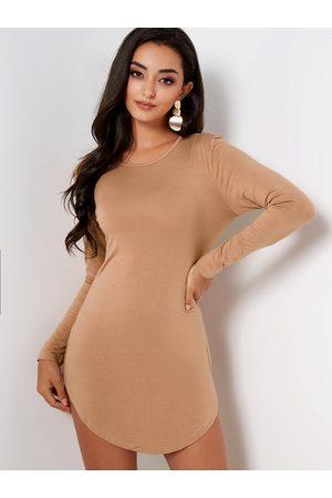 YOINS BASICS Pullover Curved Hem Bodycon Fit Dress
