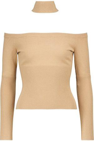 JONATHAN SIMKHAI Lila ribbed-knit off-shoulder sweater