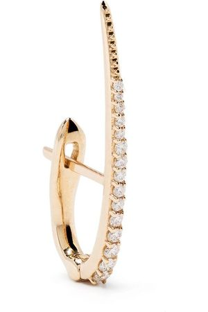 Metier by Tom Foolery 9kt yellow diamond Large Skinny Point huggie earring