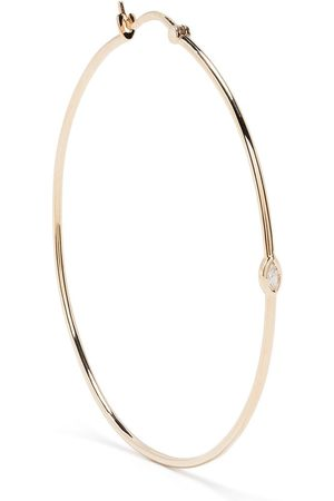 Metier by Tom Foolery 9kt yellow large marquise diamond hoops