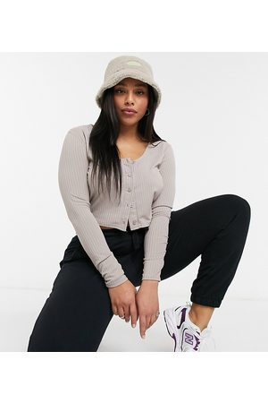 COLLUSION Plus rib button through long sleeve top in neutral
