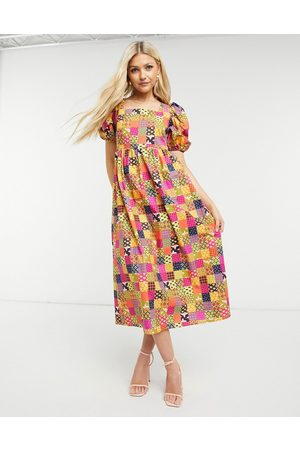 Never Fully Dressed Puff sleeve smock midi dress in patchwork print