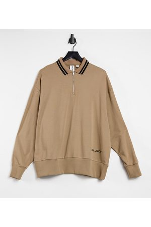 COLLUSION Zip through polo sweat with tipped collar in