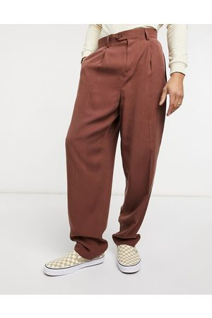 ASOS High waist slim smart trousers in twill