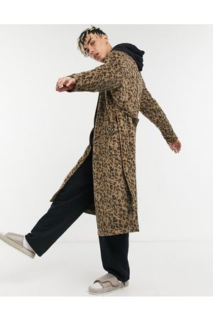 Vintage Supply Jacquard trench coat in leopard print