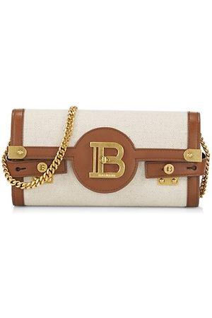 Balmain B-Buzz Leather-Trimmed Canvas Shoulder Bag