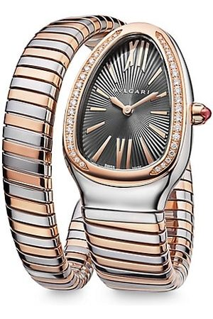 Bvlgari Serpenti Tubogas Rose , Stainless Steel & Diamond Single Twist Watch