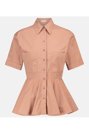 Alaïa Women Short Sleeve - Peplum cotton poplin shirt