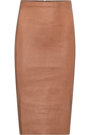 Stouls Scarlett high-rise leather midi skirt