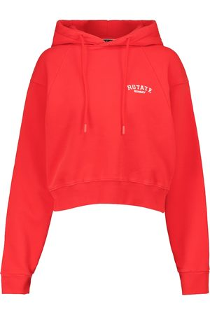 ROTATE Women Hoodies - Cropped cotton jersey hoodie