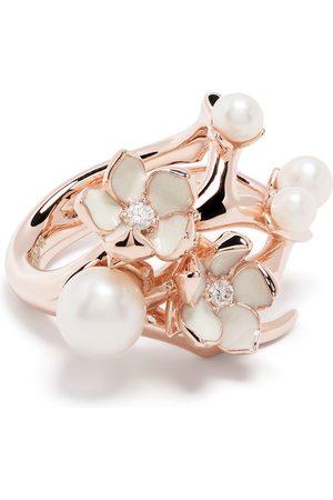 SHAUN LEANE Cherry Blossom diamond pearl flower ring