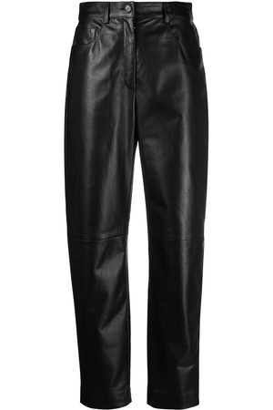 Dolce & Gabbana Women Leather Pants - High-waisted leather trousers