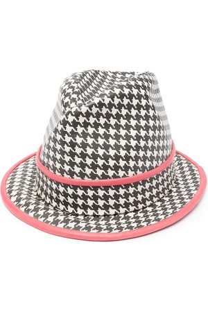 Dior Women Hats - Pre-owned houndstooth print fedora hat