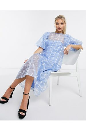 ASOS Embroidered organza midi smock dress in