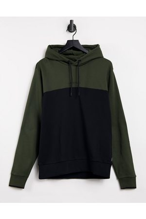 Calvin Klein Central logo colourblock hoodie in /black
