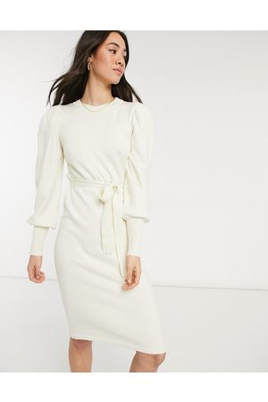 Vero Moda Women Knitted Dresses - Knitted midi dress with tie waist in