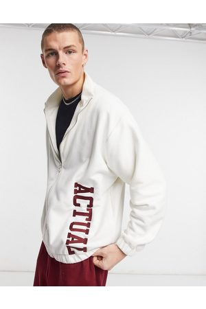 ASOS Men Fleece Jackets - Zip through jacket in polar fleece with embroidery in cream