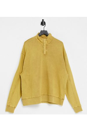 COLLUSION Men Sweatshirts - Oversized funnel neck sweatshirt with contrast nylon placket in extreme acid wash