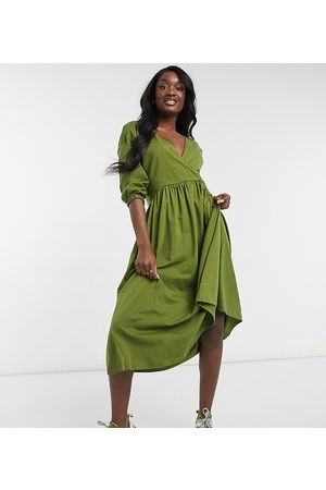 ASOS ASOS DESIGN Tall midi smock dress with wrap top in olive