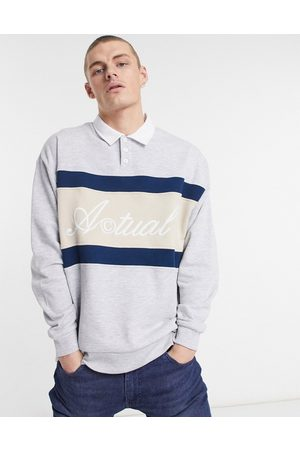 ASOS Oversized rugby sweatshirt with embroidered logo in marl