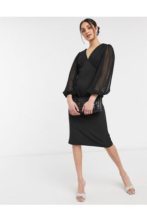 ASOS V neck midi pencil dress with dobby sleeves in