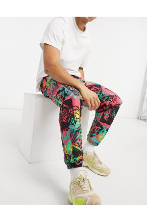 adidas Fleece joggers co-ord with all over print