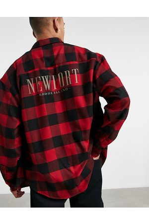 ASOS Men Casual - 90s oversized check shirt with city placement back print