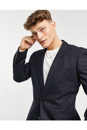 ASOS 100% lambswool slim suit jacket in check