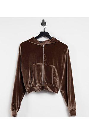 Fashionkilla Exclusive velour zip through hoodie co ord in mink