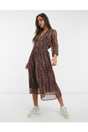 Y.A.S Midi dress with shirred waist in abstract print