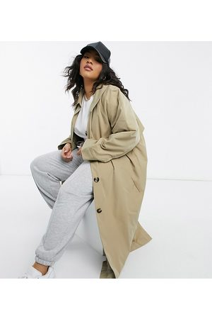 ASOS Women ASOS DESIGN Curve boyfriend trench with quilted liner in