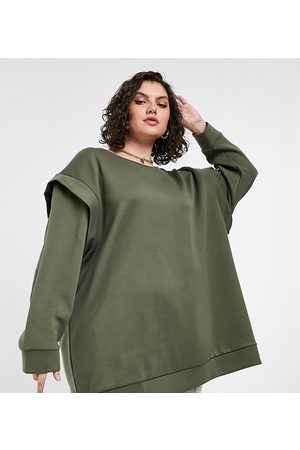 ONLY Long line sweat top with shoulder detail in khaki