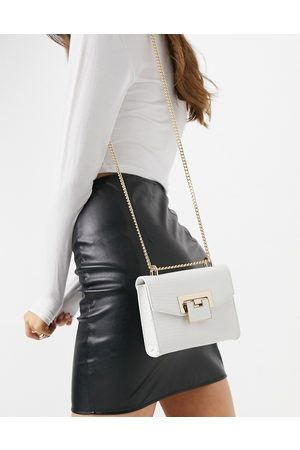 ASOS Women Bags - Cross body bag with shoulder strap in lizard with hardware detail