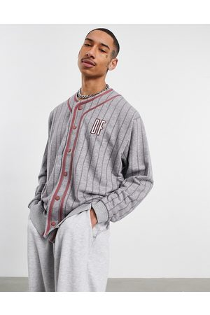 ASOS Oversized baseball sweatshirt with chest and back embroidery in grey stripe