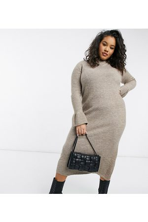 ASOS ASOS DESIGN Curve knitted dress with bell sleeve detail in taupe