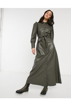 ASOS Leather look maxi shirt dress in olive