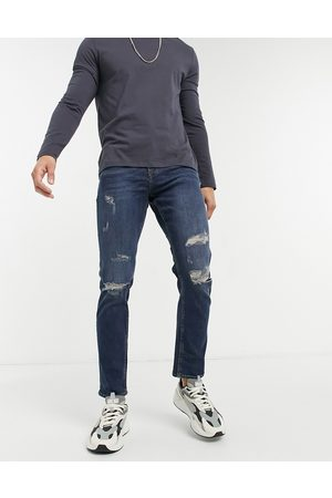 New Look Slim jeans with rips in dark wash