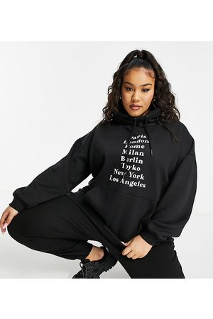 Lasula Women Hoodies - Oversized hoodie with city print in