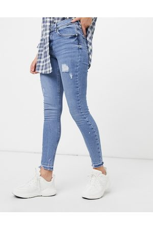 River Island Amelie distressed skinny jeans in light auth