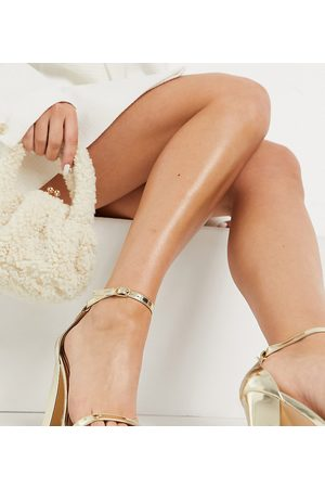 Glamorous Wide Fit Sandals with block heels in mirror