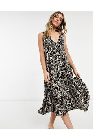 ASOS Button front tiered midi sundress in leopard print