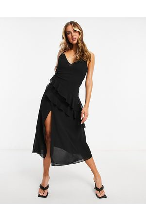 Pretty Lavish Midaxi chiffon dress with tiered asymmetric ruffles in