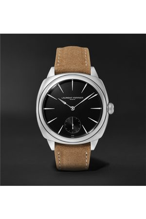 Laurent Ferrier Men Watches - Square Automatic 41mm Stainless Steel and Alcantara Watch, Ref. No. LCF013.AC.N1G.1