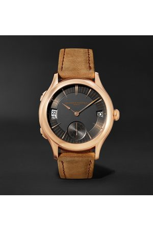Laurent Ferrier Men Watches - Traveller Automatic 41mm 18-Karat Red Gold and Leather Watch, Ref. No. LCF007.R5.AR1.1