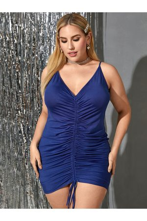 YOINS BASICS Plus Size Deep V Neck Drawstring Pleated Design Sleeveless Mini Dress