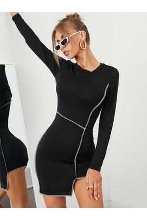 YOINS Contrast Stitch Asymmetrical Hem Mini Dress