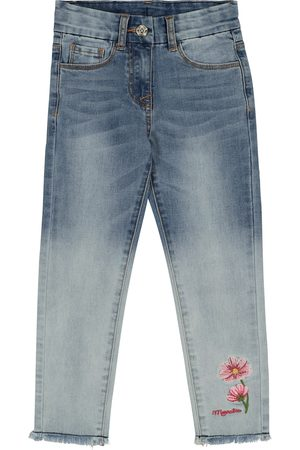 MONNALISA Women Stretch - Embroidered stretch-cotton jeans