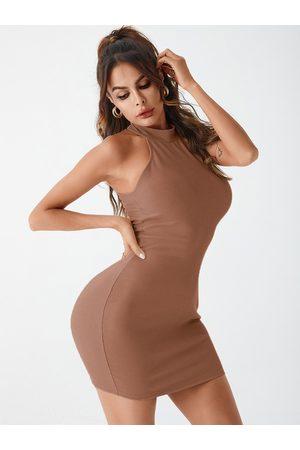 YOINS BASICS Button Design Knit Halter Sleeveless Dress