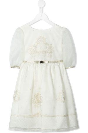 Lesy Girls Dresses - Logo-embroidered bow-detail dress